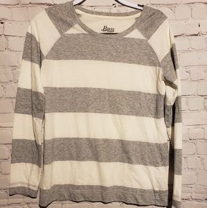 G.H. Bass & Co. Gray and white striped shirt